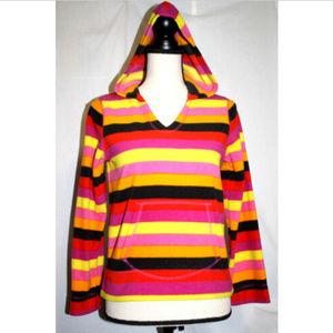 Place Girls XL 14 Pink Gold Striped Fleece Hoodie